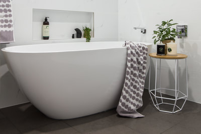 Free standing bath in Small Bathroom Renovation in Alstonville NSW 2477 By Northern Rivers Bathroom Renovations (NRBR), Ballinas specialist bathroom renovator.