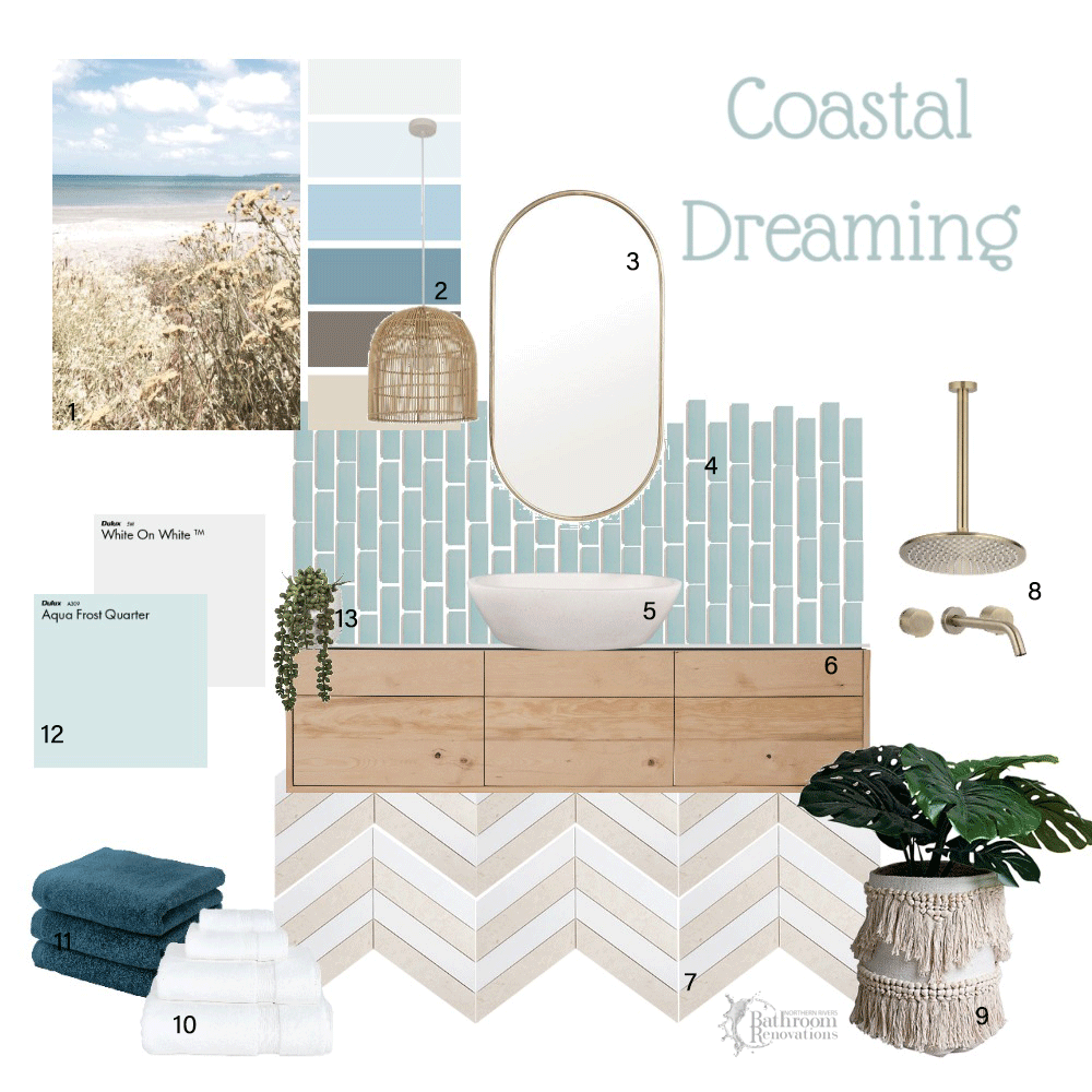 Coastal Inspired bathroom colour scheme for bathroom ideas by Northern Rivers Bathroom Renovations