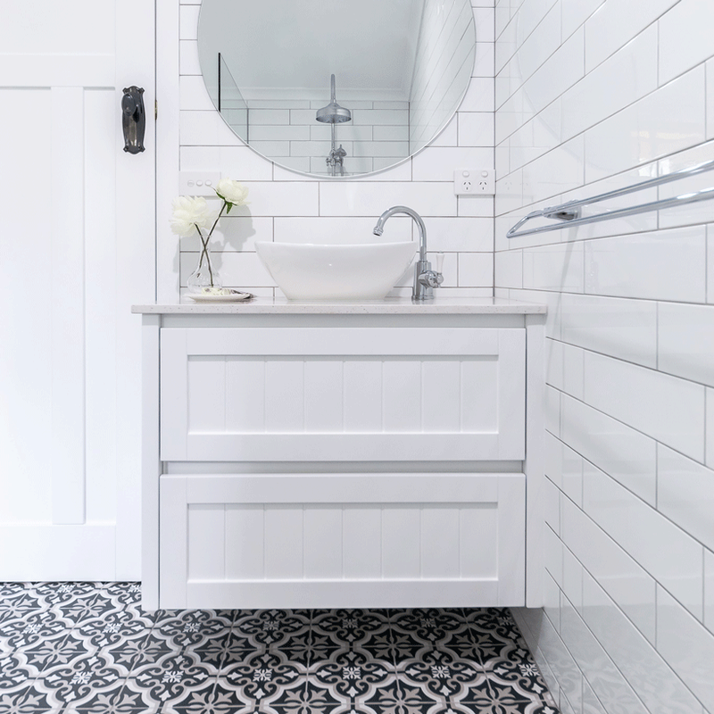 Country Bathroom with Hampton vanity and pattern floor tiles, Lismore NSW 2480