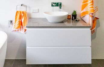 Stone bench top installed by Northern Rivers Bathroom Renovations in Clunes NSW