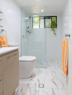 rectified tiles in Ballina NSW Australia Bathroom Renovation by Northern Rivers Bathroom Renovations.
