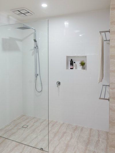 walk in shower - ensuite renovation in Ballina Renovation by Northern Rivers Bathroom Renovations (NRBR) Ballinas specialist bathroom renovator.